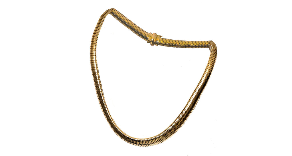 Estate Yellow Gold Omega Chain Necklace