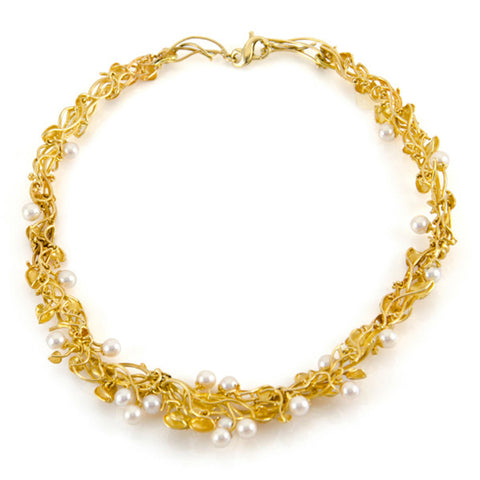 Gold Wreath Necklace with Diamonds & Pearls