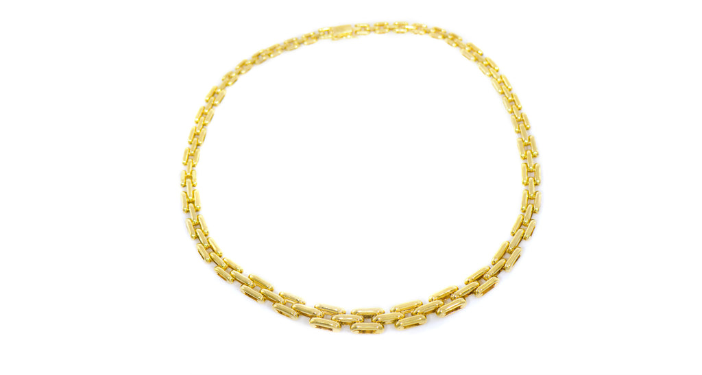 Vintage Solid Gold & Diamond Chain Necklace