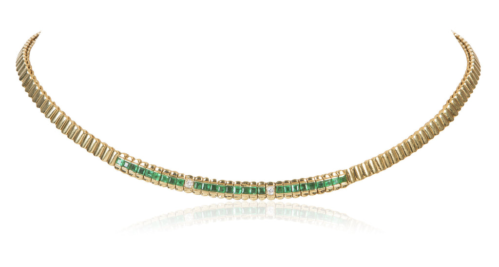Gold Ribbed Necklace with Princess Cut Emeralds