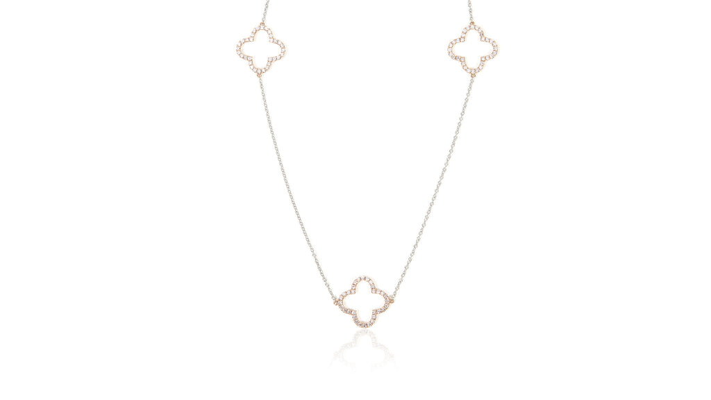 18K Two-Tone White & Rose Gold Diamond Pave Open Clover Station Necklace