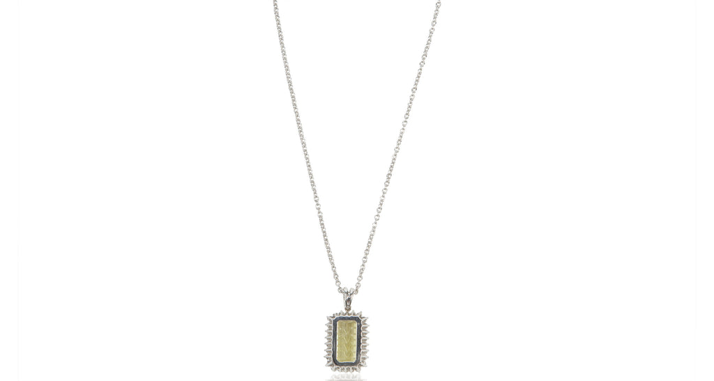 Italian Peridot & Diamond Etched Relief White Gold Pendant Necklace