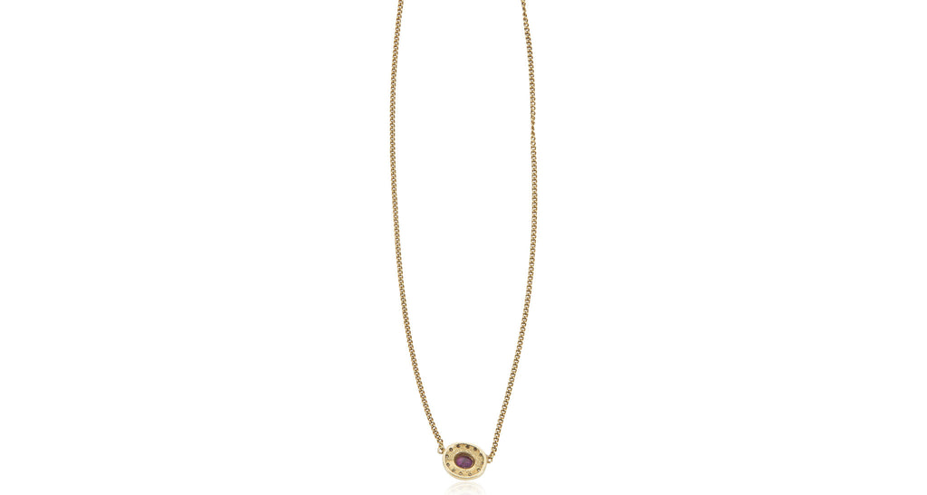 Natural Ruby & Diamond Gold Necklace