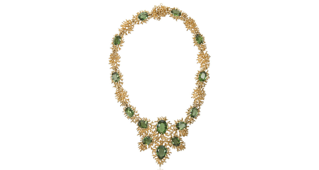 Gilt Collar Necklace of Abstract Coral-Like Links & Tourmaline Crystals with Large Central Pendant, Circa 1975
