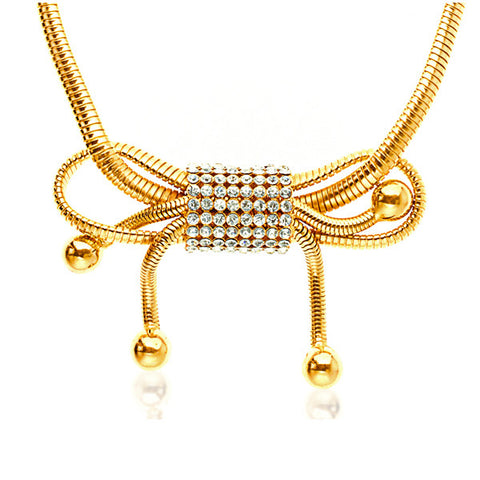 Gold Gilt Omega Chain Necklace with Large Bow Design