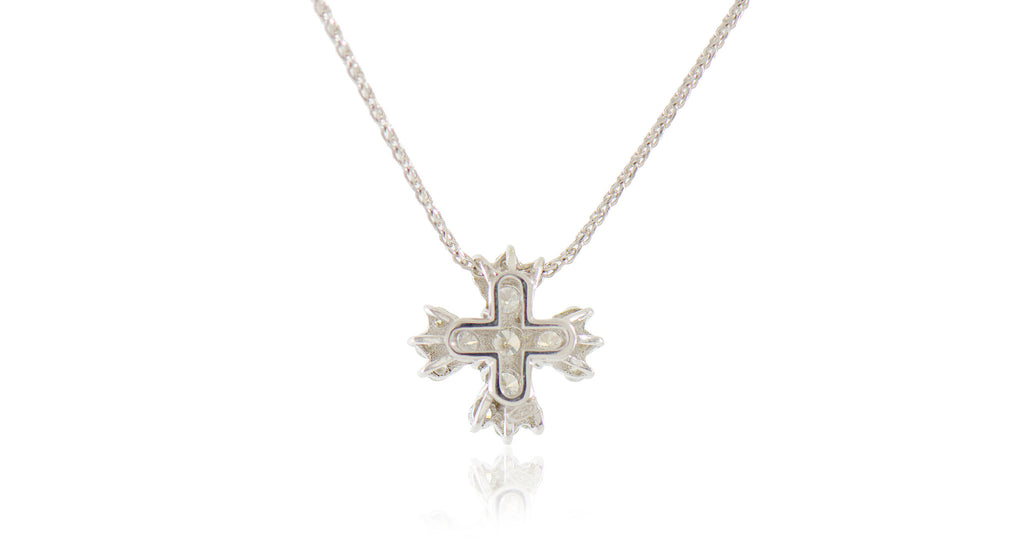 Italian Maltese Cross Diamond Necklace
