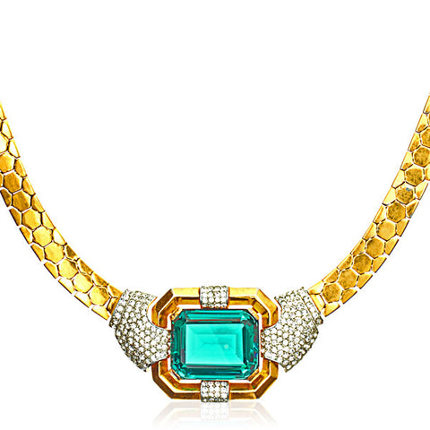 Large Emerald Cut Crystal & Honeycomb Pattern Gilt Necklace