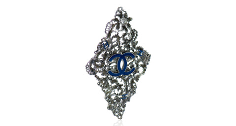 Ruthemium Lace Detail Pin with Blue Interlocking CC Logo