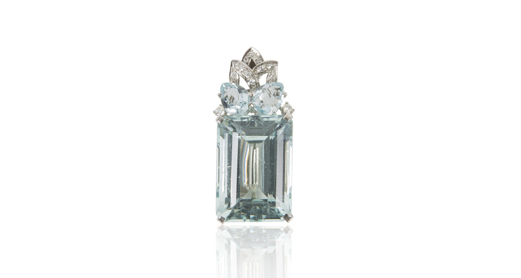 French Art Deco Pear Shaped Aquamarine Pendant / Pin