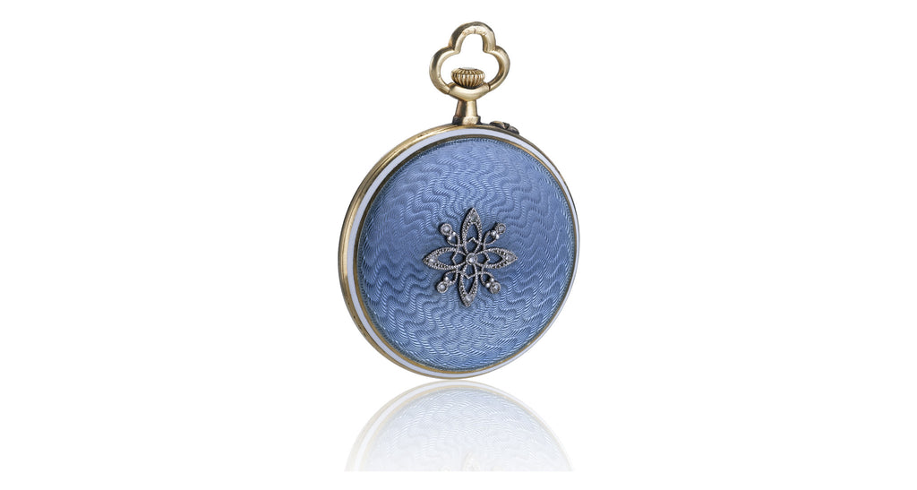Estate Blue Guilloche Enamel & Diamond Watch Pendant