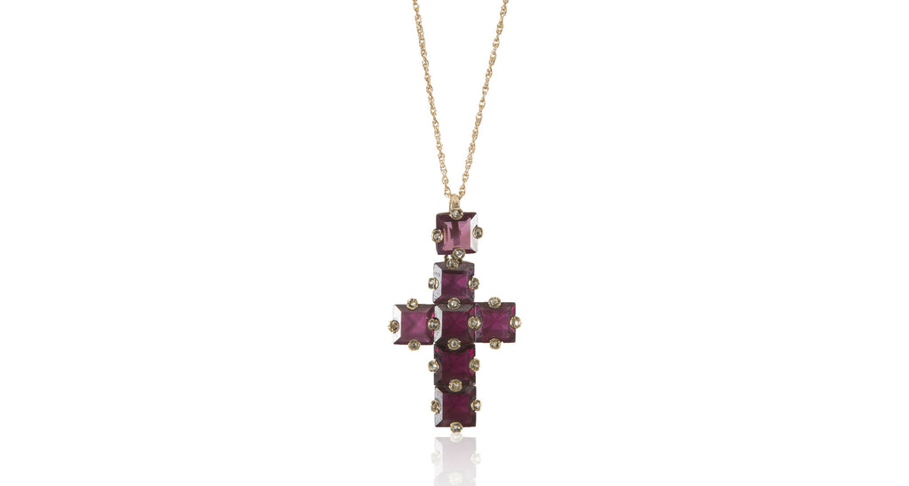 Victorian Garnet & Diamond Cross Pendant
