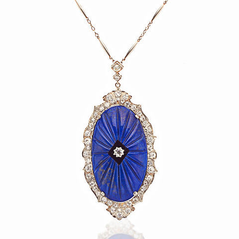 Platinum, Diamond, Lapis & Onyx Pendant on Long Platinum Chain