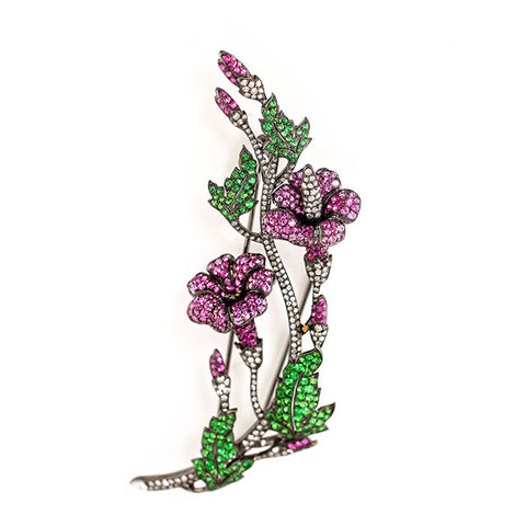 Estate Pink Sapphire, Garnet, & Diamond White Gold Flower Pin