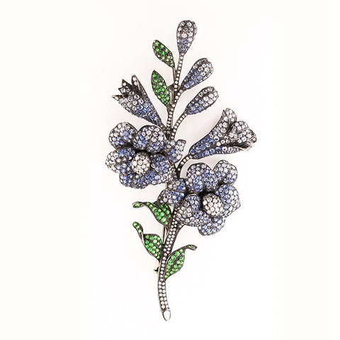 Estate Diamond, Sapphire & Green Garnet Flower Pin