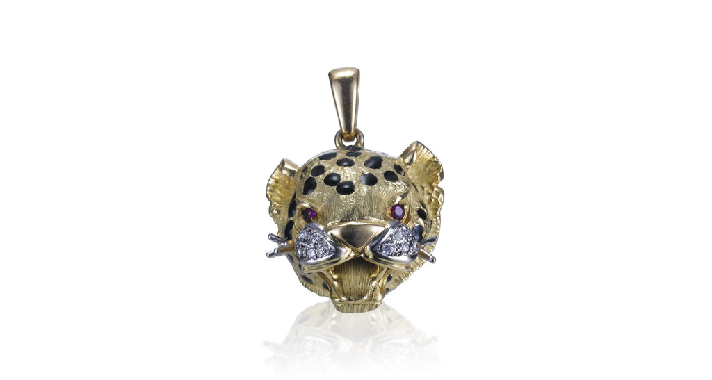 Estate Gold, Diamond & Ruby Leopard Pendant
