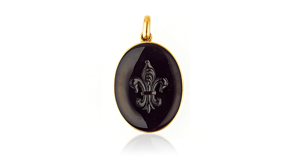 Antique Victorian Tiffany & Co 14K Gold Large Onyx Intaglio & Carnelian Locket Pendant