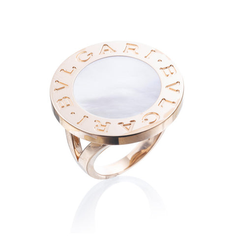 Bvlgari White Mother of Pearl Rose Gold Ring