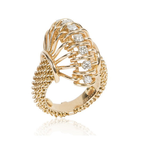 1940s Retro Gold & Diamond 'Serpent' Ring