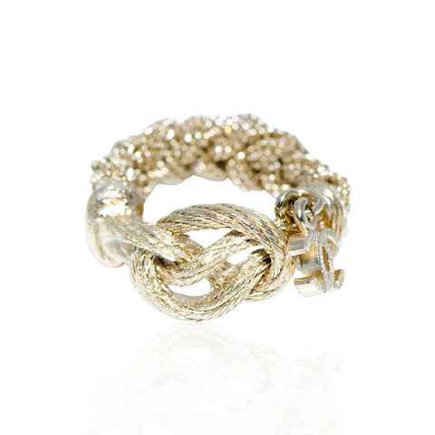 Gold Chain Ring with Hanging Cc Signature