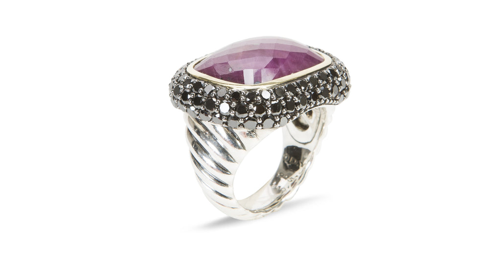 Limited-Edition Waverly Collection Ruby Moonlight Ring with Ruby, Black Diamonds, and Gold