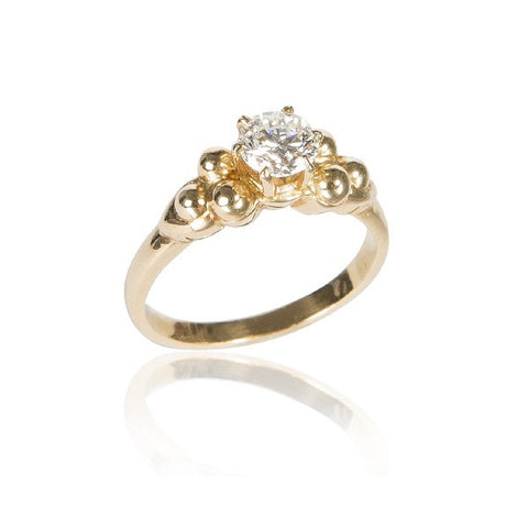 Diamond Solitaire & Gold Bead Ring, 0.59 Carats