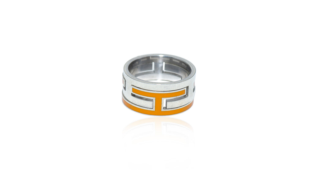 Sterling & Orange Enamel 'H' Motif Ring, Size 6.25, Circa 1990