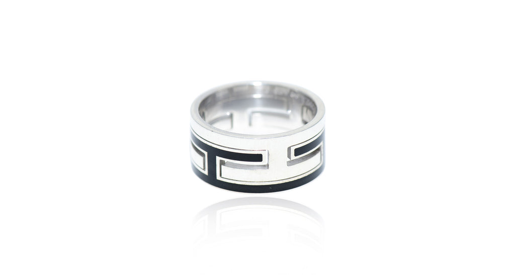 Sterling & Black Enamel 'H' Motif Ring, Size 7.5, Circa 1990