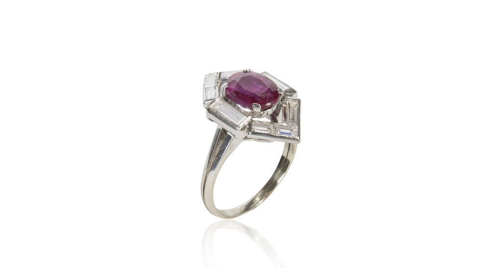 Art Deco 3.1 Ct Natural Burma Ruby & Diamond Ring