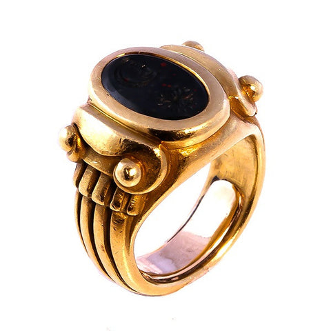 Kieselstein Bloodstone Intaglio 18K Yellow Gold Ring