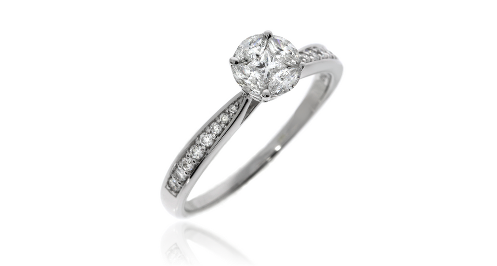 1 ct-Look Solitaire Diamond Ring With Pavé Diamond Band