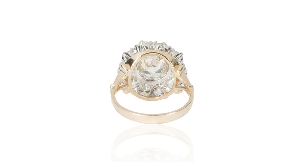 1940s Old European Cut Diamond Cluster Ring