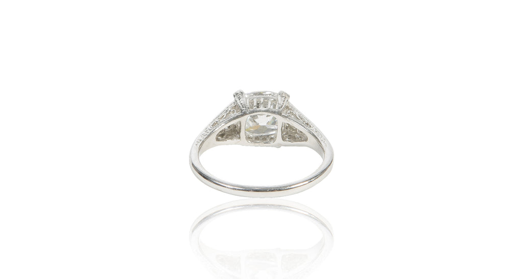 Art Deco 2.01 Ct Cushion Diamond & Platinum Ring (GIA)