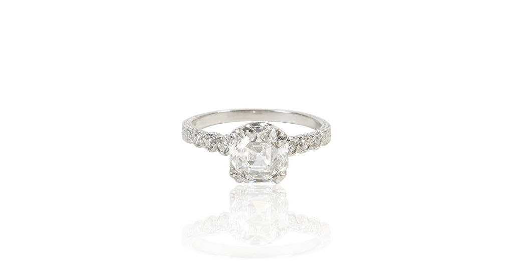 Art Deco 2.04 Ct Asscher Cut Diamond & Platinum Ring (GIA)