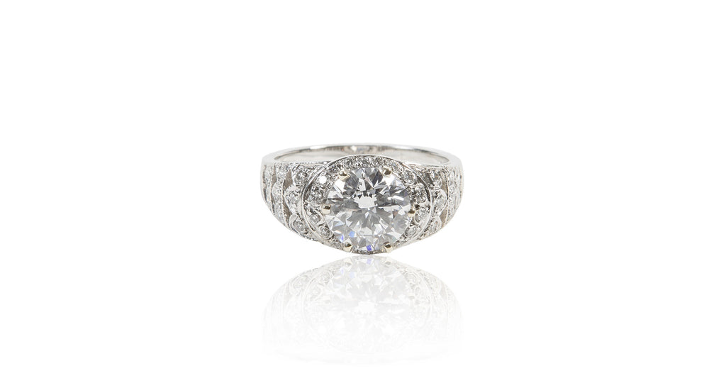Art Deco 1.98 Ct Perfect Round Diamond Gold Ring (GIA)