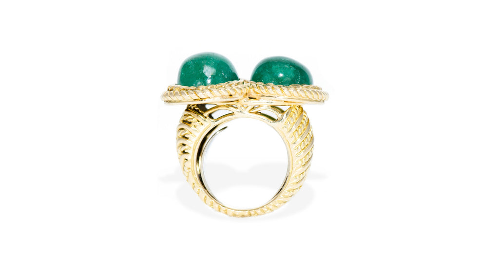 Two Stone Emerald & 18K Yellow Gold Ring, Circa 1945