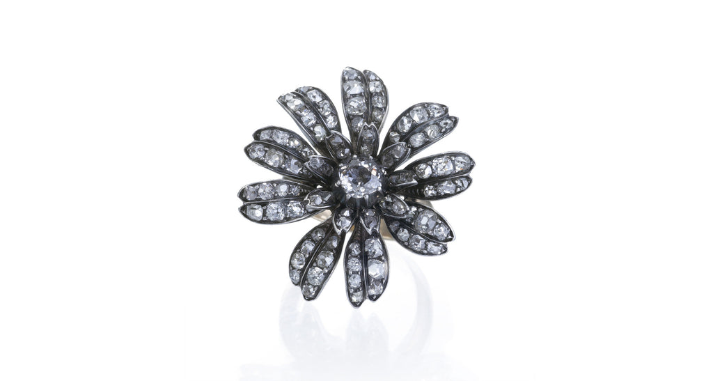Estate Antique Diamond Flower Ring