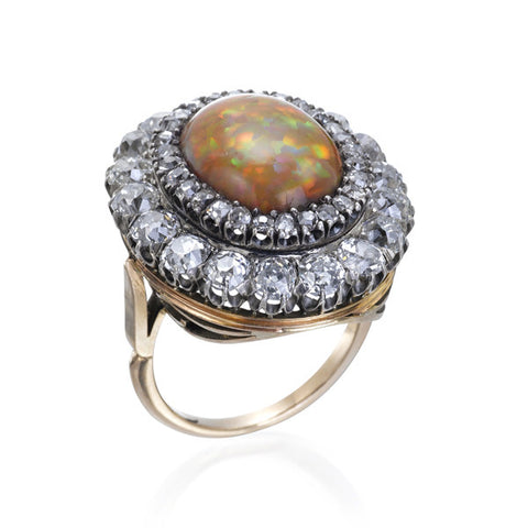 Estate Antique Opal & Diamond Cluster Ring
