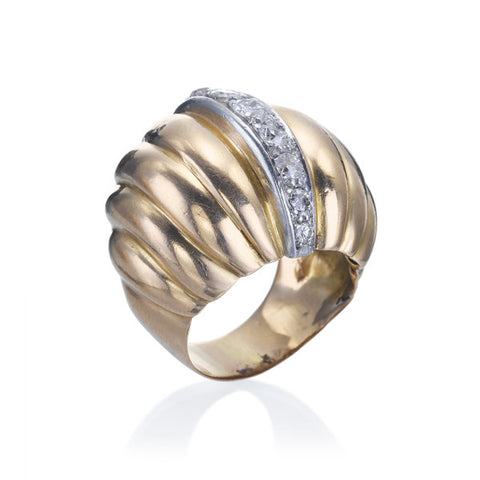 Estate Retro Gold & Diamond Ring