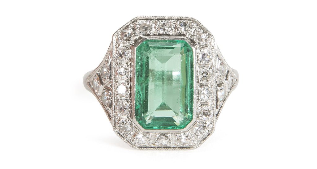 Art Deco 4 Carat Emerald and Diamond Ring (with Certificate)