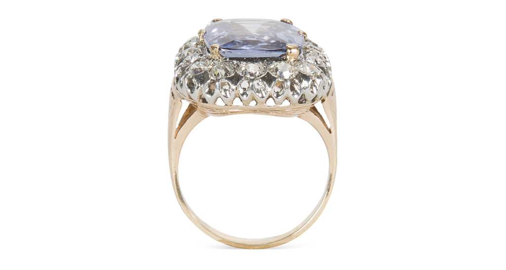 Antique 9 Carat Ceylon Sapphire & Diamond Cluster Ring