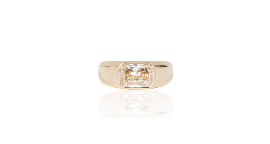 18K Rose Gold Fancy Brownish Yellow Diamond East West Ring