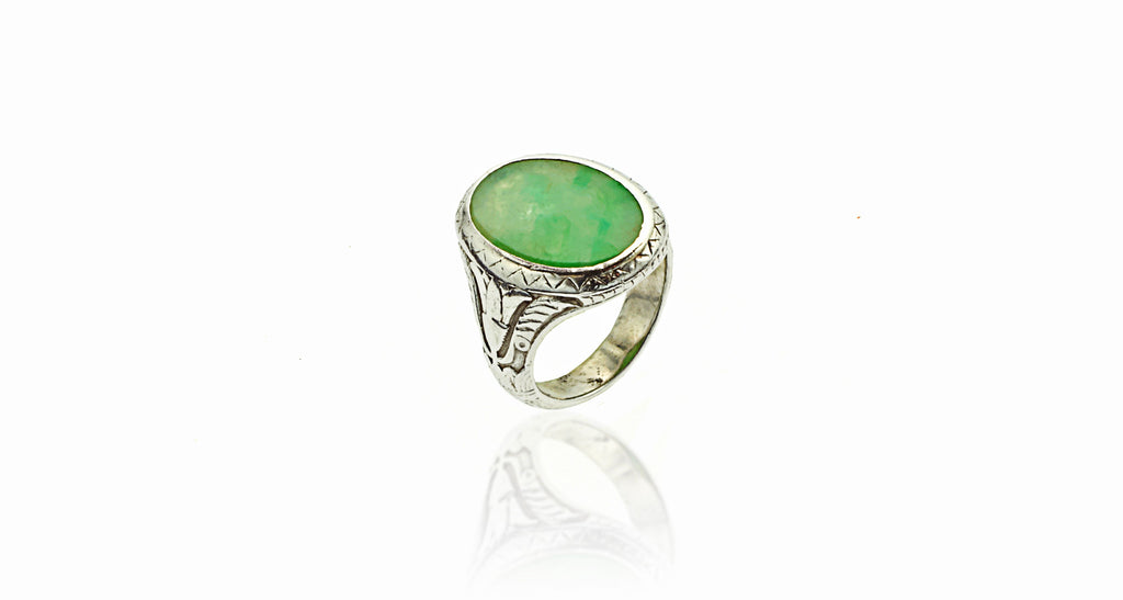 Heavy Platinum Fine Apple Jadeite Jade Ring
