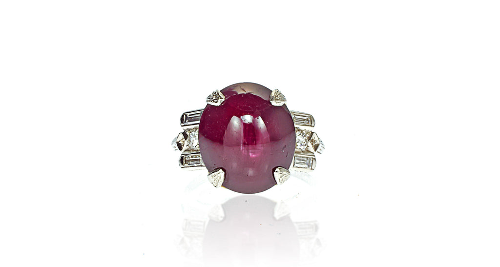 Star Ruby & Diamond Art Deco Platinum Ring