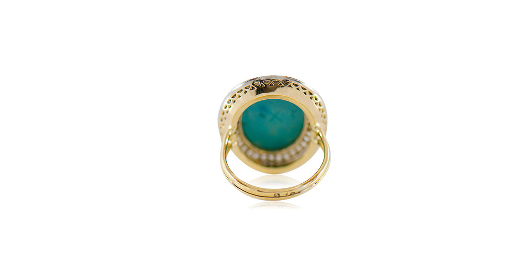 Antique Oval Turquoise & Diamond Cluster Ring