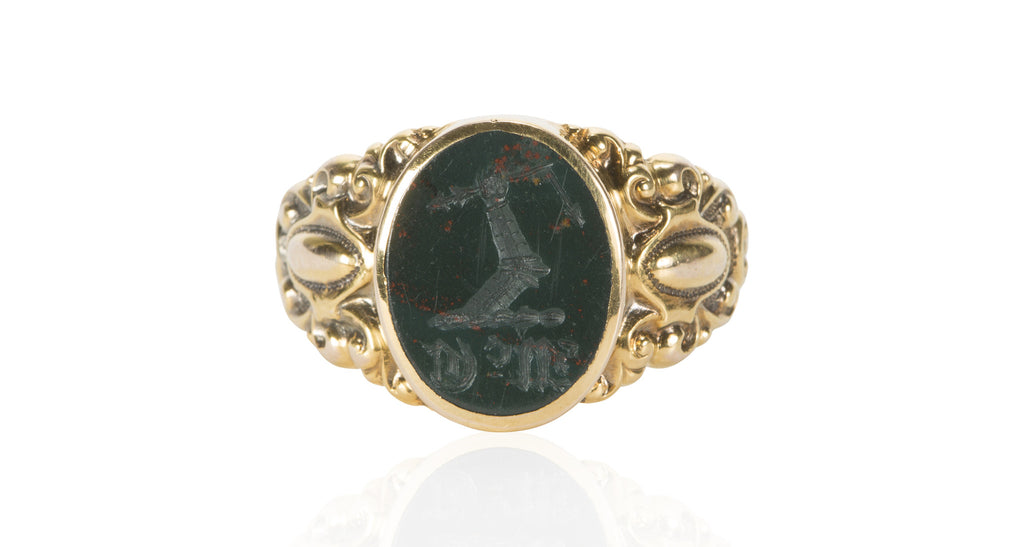 Victorian Bloodstone Signet Ring in 14K Yellow Gold