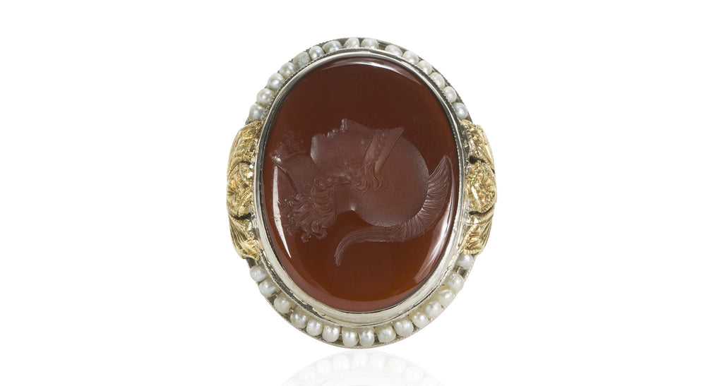 Carved Carnelian with Pearls, Circa 1930