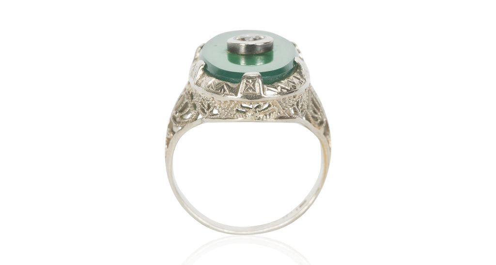 Vertical Green Chalcedony and Diamond Ring, Circa 1930