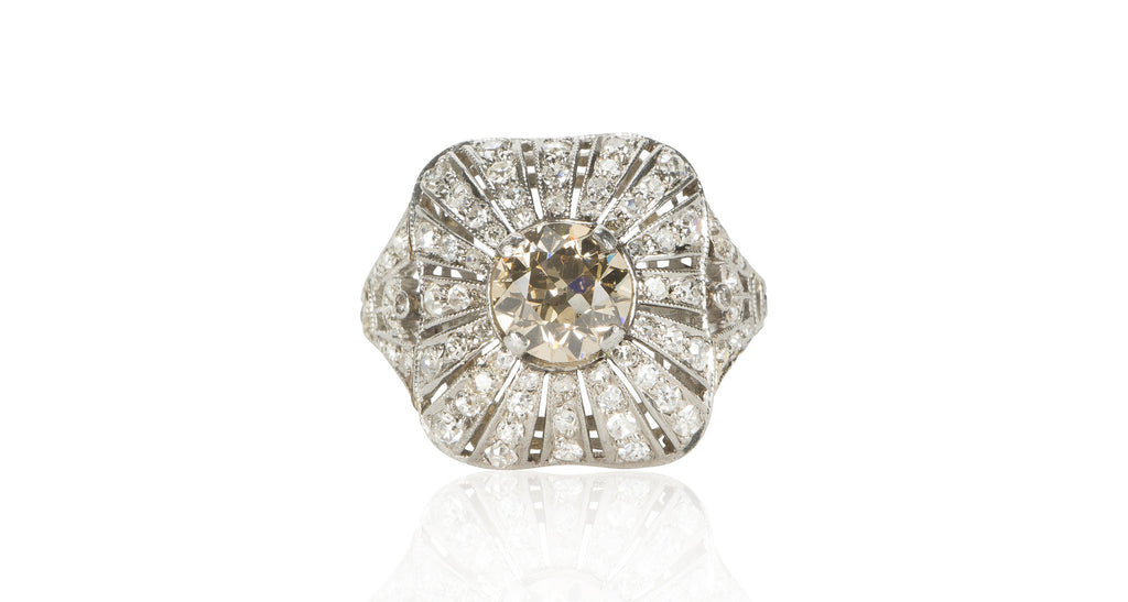 Natural Yellow Diamond Panel Ring, Circa 1900