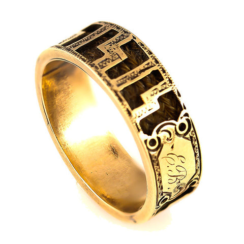 Estate Braided Hair Yellow Gold Memorial Ring