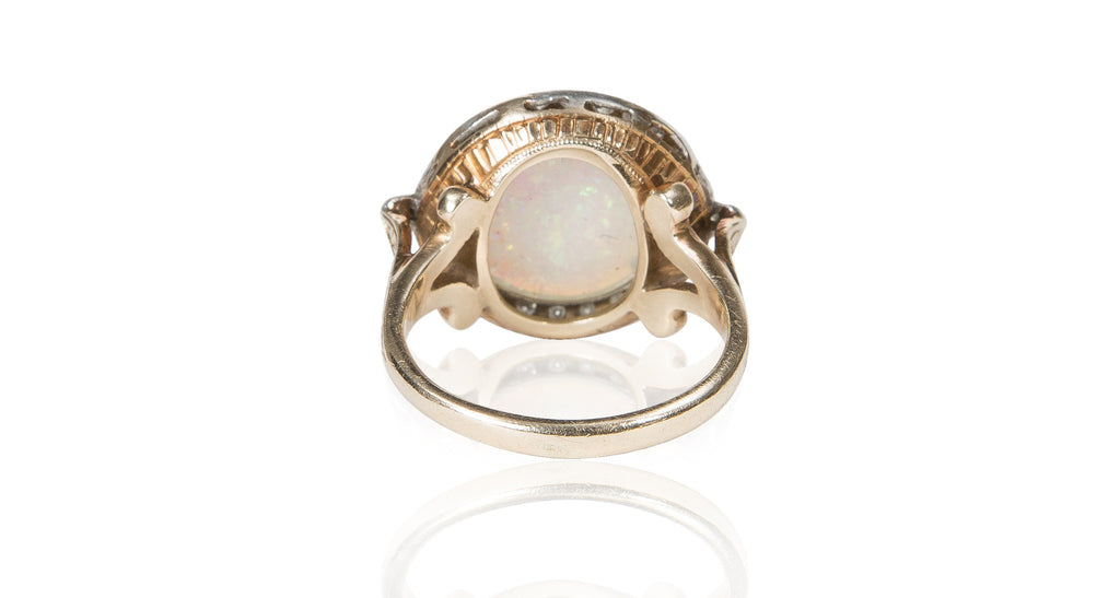 Art Nouveau Opal Cabochon & Diamond Ring
